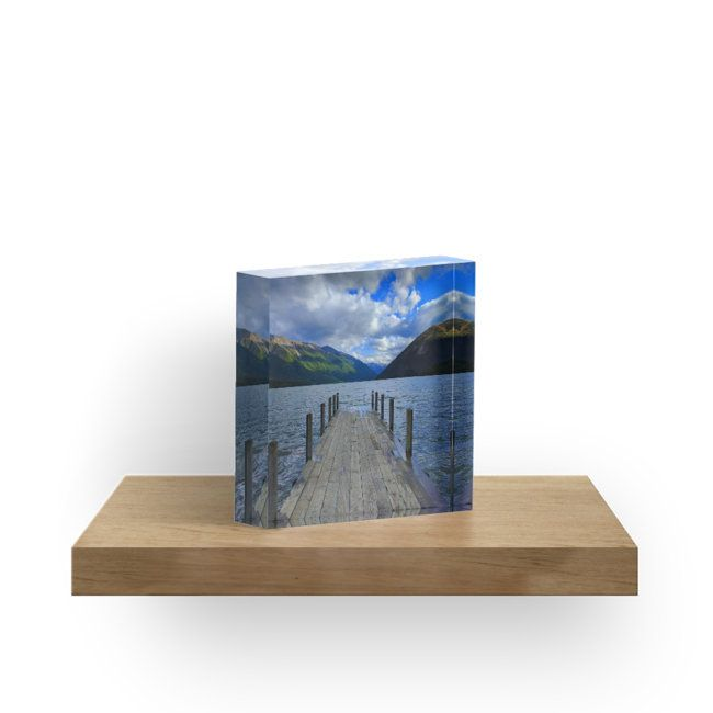Jetty with view on Lake Rotoiti in Nelson Lakes, New Zealand. • Also buy this artwork on home decor, stickers, phone cases, and more.