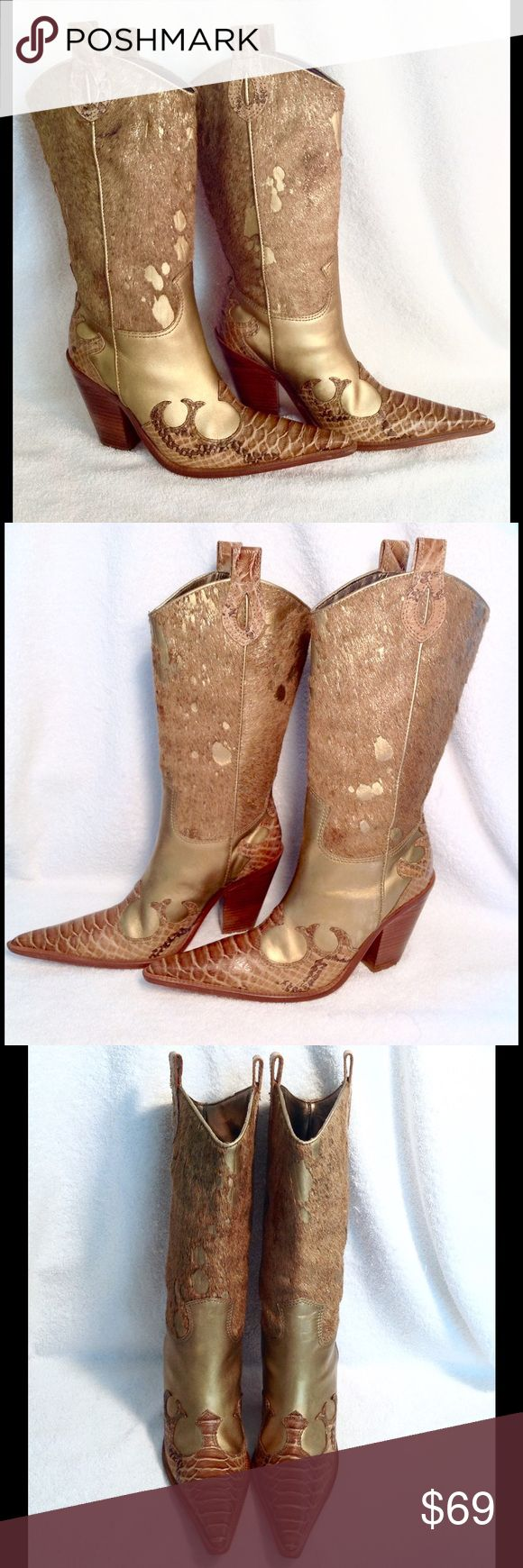 """Para Raio Sz 6M Western Boots Para Raio~Women's Sz 6M..ALL LEATHER! Made in Brazil Gold Leather with Gold Metallic and Calf-Hair Shaft and Part Croc Embossed Pearlized Toe. Awesome Cowboy/Western Style Boots. Very Pointed Toe and Stacked Cuban Heel!! Full Leather Upper and Leather Sole! Natural Light/Dark Variations in Calf Hair! Soles are BARELY Used! They Run a little big because of the Pointy Toe! AWESOME Condition! No Rips, Holes, Stains or Smells Inside and Out! Shaft 12"""" Calf…"""