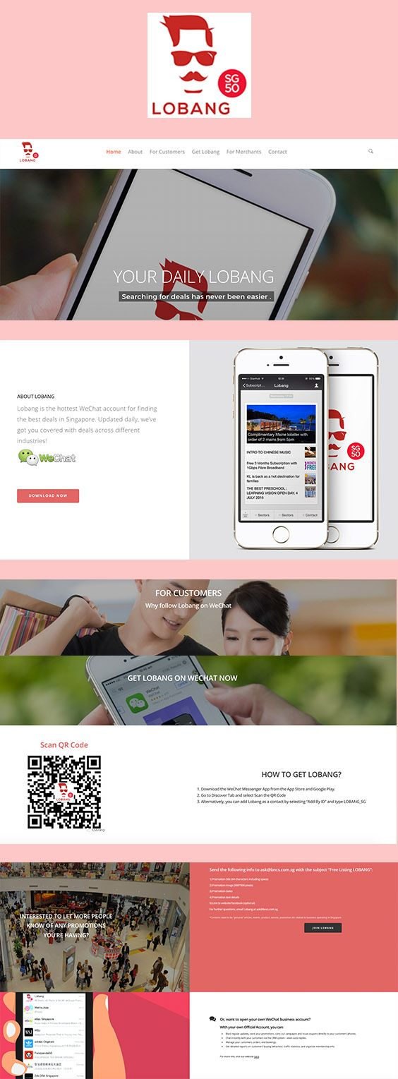 Lobang Deals, a site to promote a WeChat Account for daily deals in Singapore. lobangdeals.com