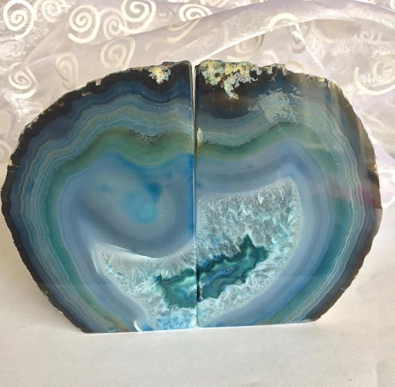 Blue Agate! Blue Agate Bookends! Rich Colored Thick Agate Bookends!  Blue Teal and Green Agate Bookend Pair! Two Piece Agate Bookends!
