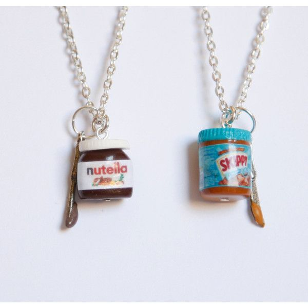 BFF nutella and peanut butter inspired two necklaces ($26) ❤ liked on Polyvore featuring jewelry, necklaces and joias