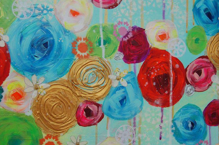 """Flower painting Détails """"Ton champ fleuri au paradis"""" by Vigo, artiste peintre"""