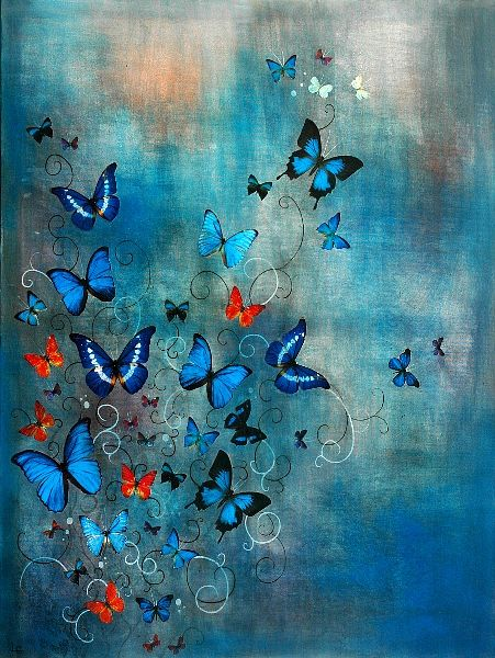 Butterflies on Blue by Lily Greenwood www.lilygreenwood.com