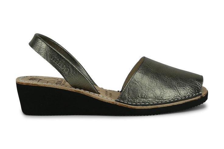 Mibo Avarcas Women's Wedges Silver Vintage Leather Slingback Sandals