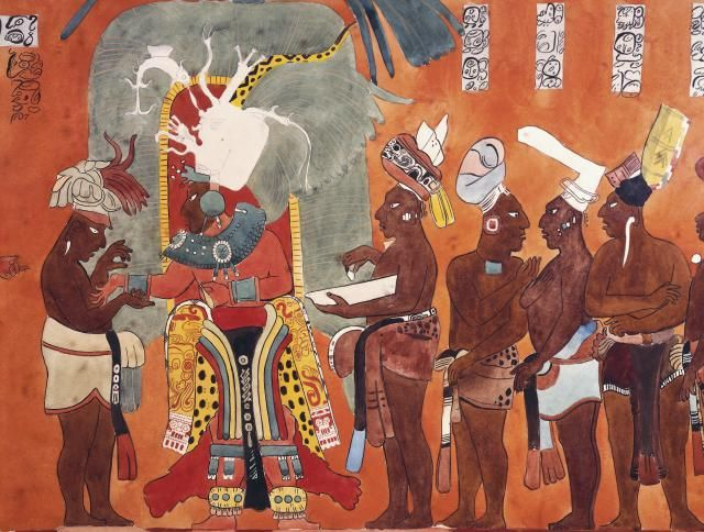 Beautiful reconstruction drawings of the murals of for Bonampak mural painting