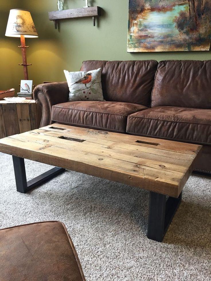 Reclaimed Barn Wood Beam Coffee Table Rustic Industrial Look  Iowa Made By  Hand