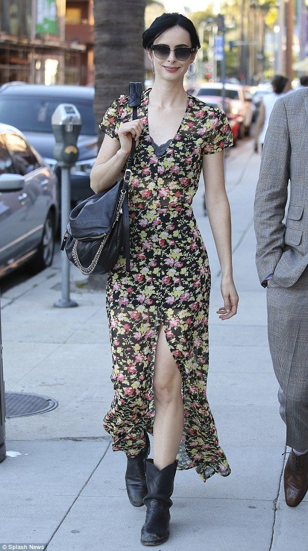 Krysten Ritter flashes some flesh in slit-to-the-thigh maxi dress | Daily Mail Online