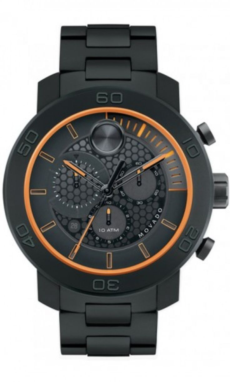 Movado Bold Titanium/Titanium Polymer w/Orange 46mm 3600190 love this color corrdination!