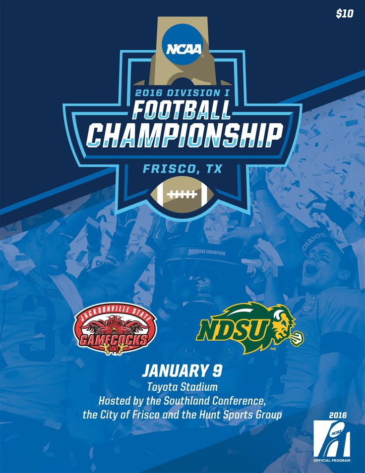 The official program of the 2016 NCAA FCS Football Championship game on January 9 in Frisco, TX between the @jaxstateu Gamecocks and the North Dakota State Bison.