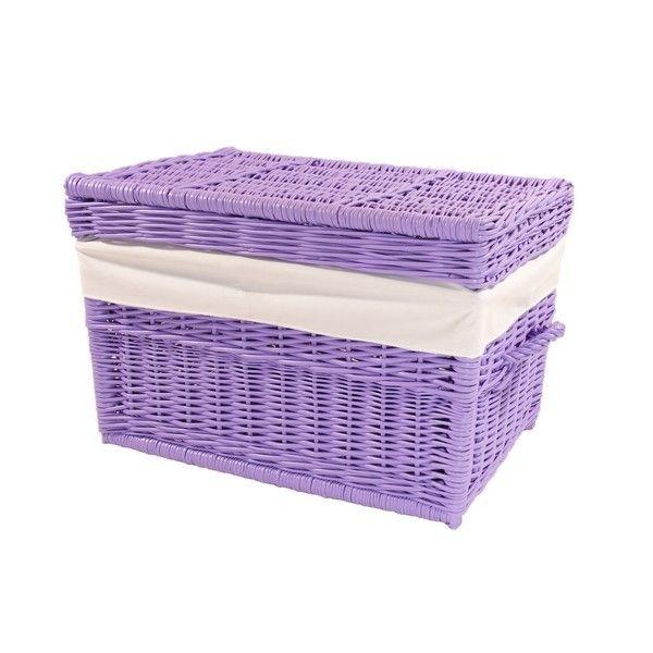 Wiklinowy kufer z płaskim wiekiem - lawendowy obszyty materiałem w kol. białym
