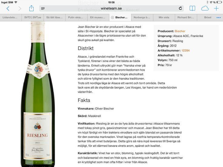 Jean Biecher, vin D Alsace, Riesling, reserve, 2012