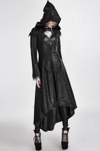 Langer schwarzer Mantel mit Kapuze und Rückenschnürung