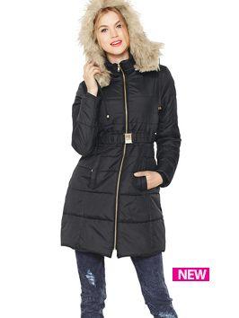 South Petite Fur Hood Padded Belted Coat Winter Jacket