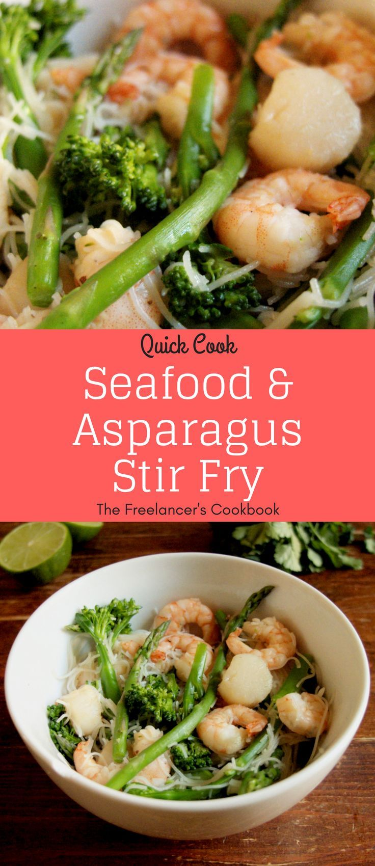 This quick seafood and asparagus stir fry is a perfect spring dish - with scallops, prawns, asparagus and tenderstem broccoli. As a bonus there's no chopping involved and you can make it in just 15 minutes.