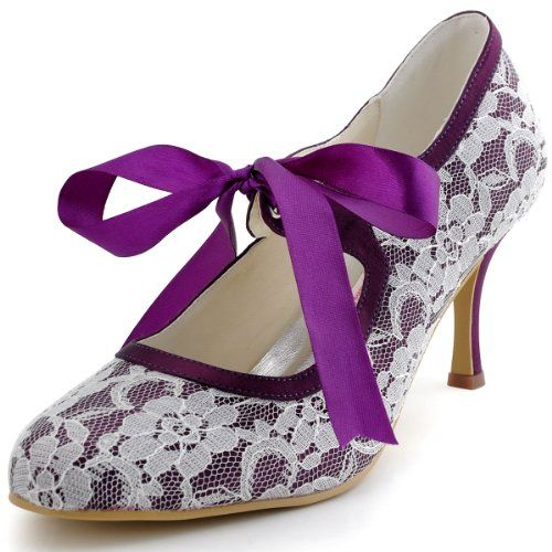 Elegantpark Mary Jane Lace Women Closed Toe Ribbon Tie High Heel Satin Wedding Party Shoes Purple US 9