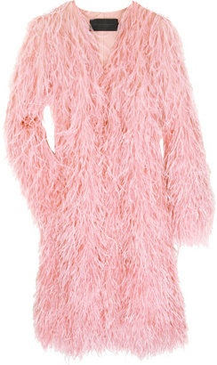 a Donna Karan Ostrich feather coat in pink