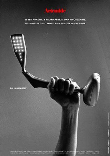 The first #LED lamp by Artemide, #design Carlotta de Bevilacqua. #TheHumanLight by Artemide, ADV campaign 2002 Photo by Elliott Erwitt Agency