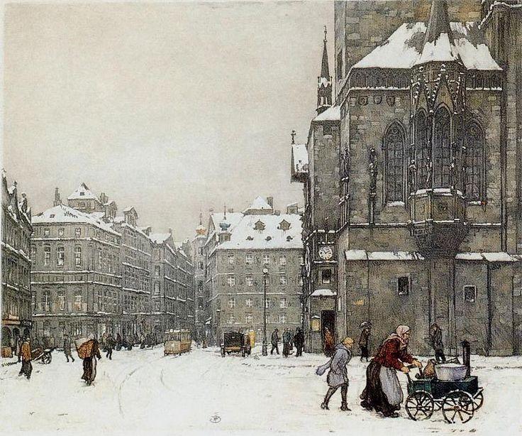 1924 STAROMESTSKE NAMESTI IN WINTER.  T F Simon color Etching