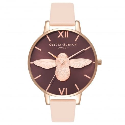 Animal Motif Moulded Bee Nude Peach & Rose Gold -  from Olivia Burton UK