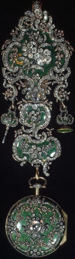 """ Watch on Chatelaine "" by  Jean Fazy.      With wrench and seal, gold silver, polished and rough diamonds, glass, enamel and an emerald (probably the gem of the seal) Russia / St. Petersburg / Hermitage all created in 1770's,"