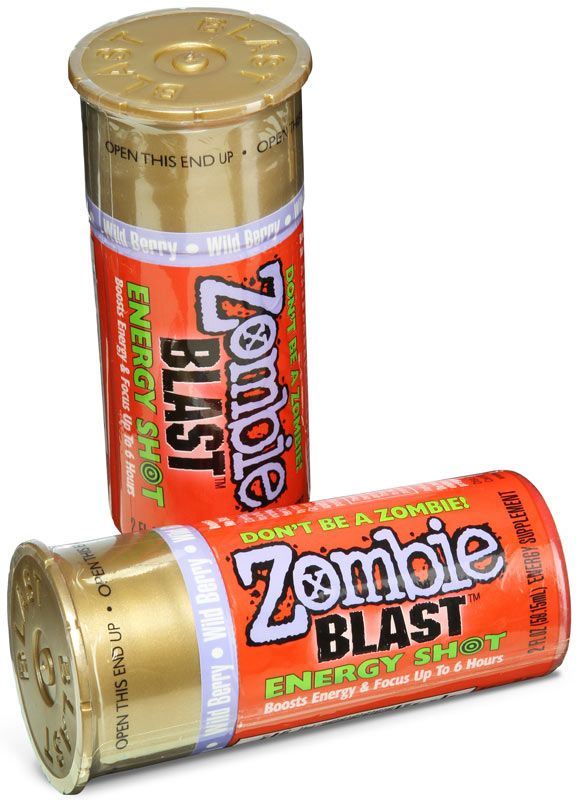 "Zombie Blast Shots - Energy shots in containers shaped like shotgun shells, with added ""brain nutrients"""