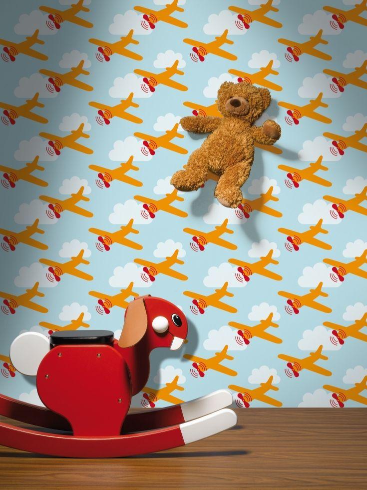 BEHANGPAPIER VLIEGTUIG BLAUW LAVMI - Wallpaper, Papier peint, Kinderkamer decoratie | De Boomhut