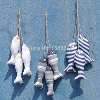 mediterrane creatieve huis decoratieve deur opknoping string vis schattige stof venster gordijnen Gepersonaliseerde bar gordijn