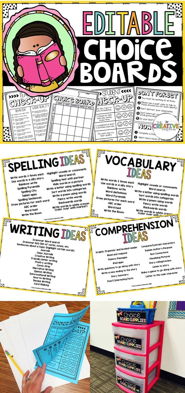 Choice Boards are perfect for station and center time. These EDITABLE choice boards build student engagement, differentiated instruction and have minimal teacher prep.