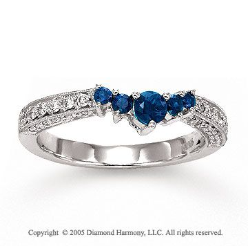 14k White Gold Blue Sapphire Prong Diamond Wedding Ring 699