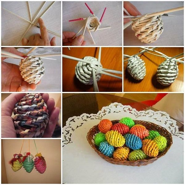 Easter Crafts: Newspaper Woven Eggs - http://www.interiordesignwiki.com/architecture/easter-crafts-newspaper-woven-eggs/