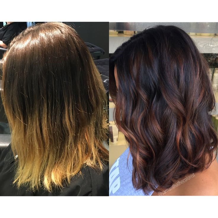 Balayage low light winterizing hair color before and after hair blonde to brunette warm brunette fall hair