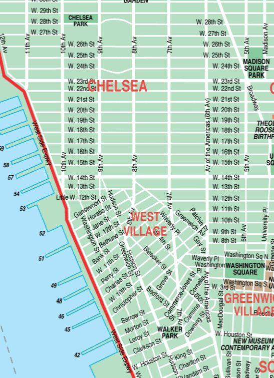 chelsea new york city streets map