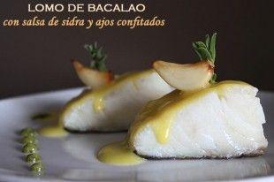 Lomo de bacalao con salsa de sidra y ajos confitados