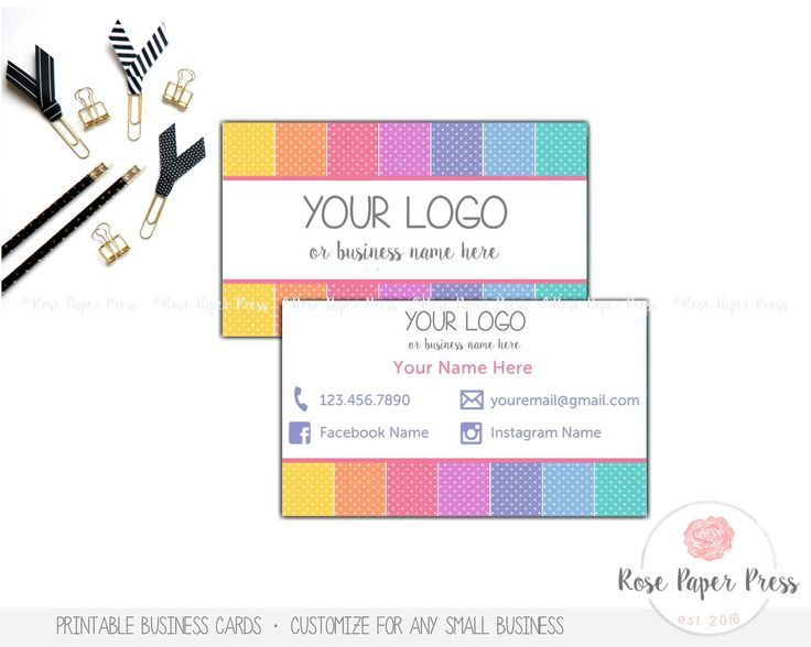 Business Cards, Polka Dots | Custom Printable Business Card by RosePaperPress on Etsy