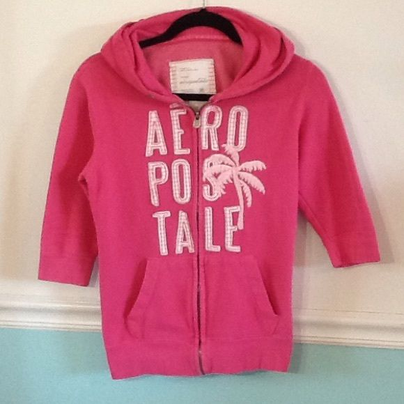 Aeropostale Pink Zip Up Hoodie M with 3/4 sleeves Aeropostale pink zip up hoodie sweatshirt with 3/4 sleeves. Embroidered logo and Palm tree on front. Aeropostale Jackets & Coats