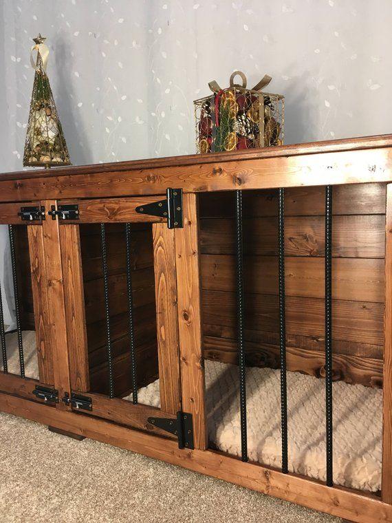 Double Dog Kennel Custom Kennel Dog Bed Dog Crate Furniture Pet Furniture Dog Kennel Entertainment Center Diy Dog Crate Dog Crate Furniture Dog Kennel