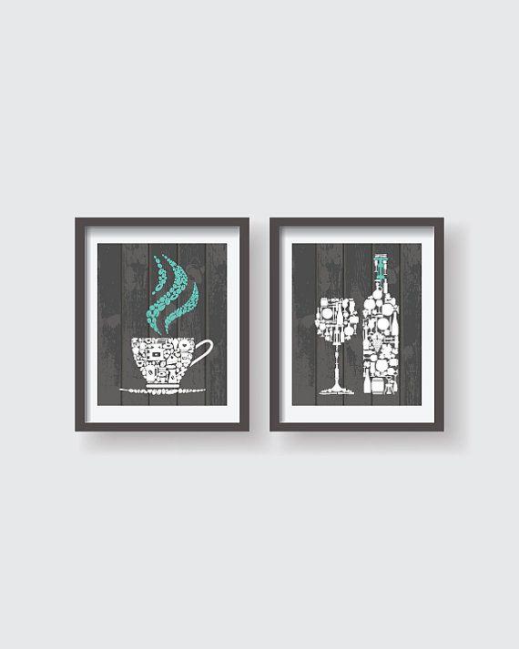Kitchen decor - Kitchen wall art - Kitchen prints - Kitchen art - Kitchen art set - Kitchen poster - Housewarming gift - Texture - Set of 2