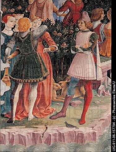 Allegory of April of Triumph of Venus, by Cossa Francesco del, 1469 - 1470, 15th Century, fresco