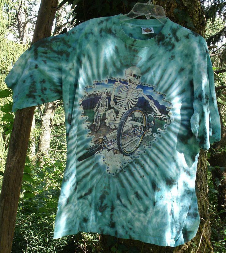 Skeleton Stunt BMX Bikers Tye-Dye T-Shirt,blues,size XL,hand dyed - bicycle,bike #EyeDye #GraphicTee