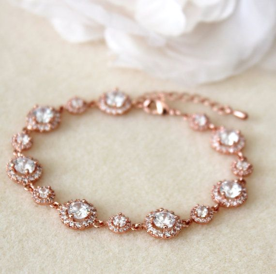Rose Gold Weding Bridal Bracelet Round clear white Cubic Zirconia bracelet Wedding Jewelry wedding party gift prom party birthday party gift