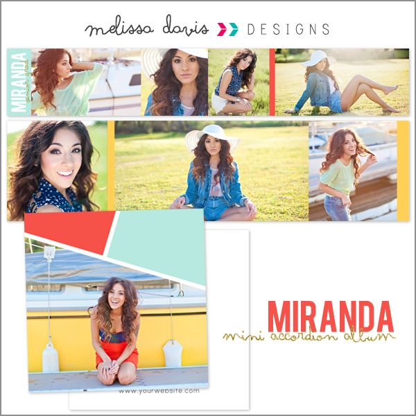Miranda mini accordion album - $16.00 : Melissa Davis Designs, Photoshop templates, Card templates, album templates and more for the every day photographer
