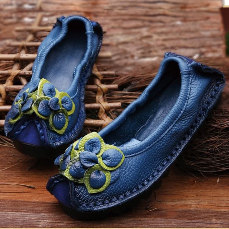19.80$  Watch now - http://alitvo.shopchina.info/go.php?t=32712857648 - Original Handmade Autumn Women Genuine Leather Shoes Cowhide Loafers Real Skin Shoes Folk Style Ladies Flat Shoes For Mom sapato 19.80$ #buyininternet
