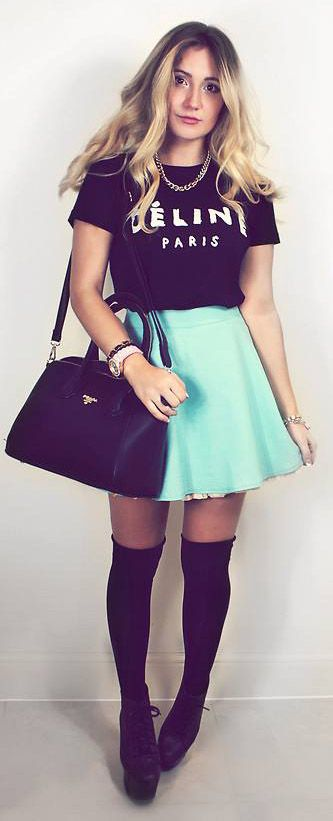 Colored skater skirt + fashionable tee and accessories (Not a big fan of the shoes though)