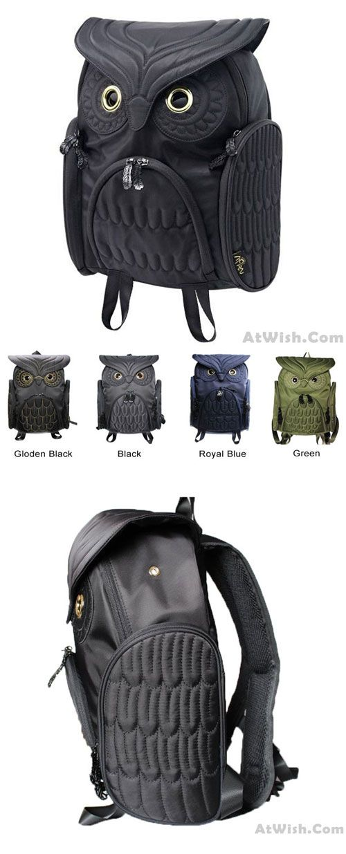 Which color do you like? Fashion Street Cool Owl Shape Solid Computer Backpack School Bag Travel Bag #bag #backpack #school #computer #owl #cool