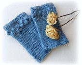 Crochet Gloves - Wrist Warmers - Arm Warmers - Fingerless Gloves - Blue Mohair Gloves - Crochet Mitts