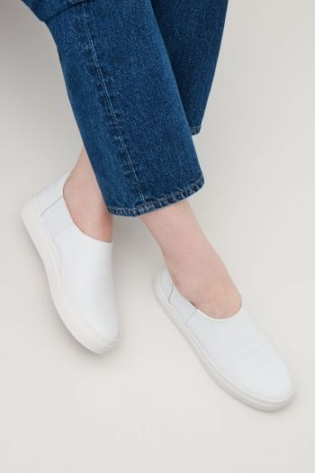 COS Slip-on leather sneakers in White