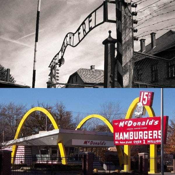 Most people connect McDonald's with post-WWII America – and it's true that the chain really took off at that time – but brothers Richard and Maurice McDonald actually opened the first McDonald's restaurant on May 15, 1940, in San Bernardino, CA. Reddit user Shieee points out that just five days later, the first concentration camp prisoners arrived at Auschwitz.