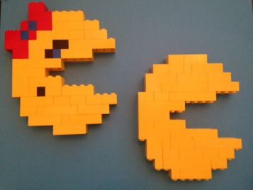 Mr. & Mrs. Pac-Man built completely out of Legos.  Fun way to spend a rainy afternoon.