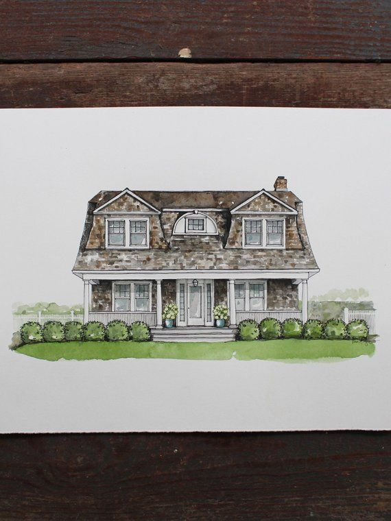 Custom House Portrait Made To Order House Portrait Etsy Custom
