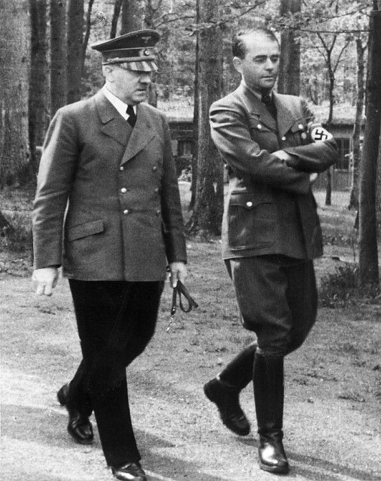 ADOLF HITLER and ALBERT SPEER at Wolfschanze, East Prussia, 1940s. Everett/CSU Archives. || Albert Speer (March 19, 1905 – September 1, 1981), German architect who was, for a part of World War II, Minister of Armaments and War Production for the Third Reich. Speer was Adolf Hitler's chief architect before assuming ministerial office. - http://en.wikipedia.org/wiki/Albert_Speer